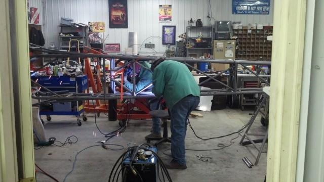Beans and Rick doing final welding